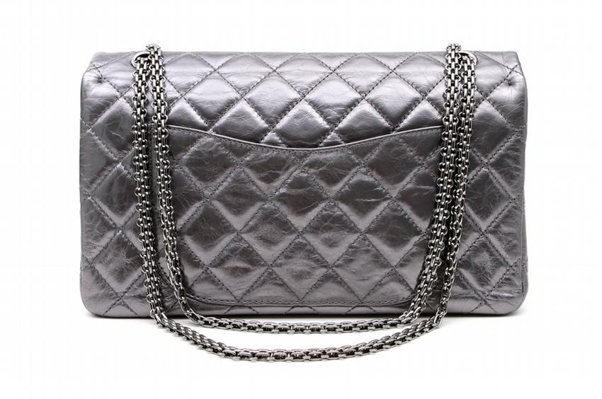d66bbefd8821 Home / Designer Handbags / Chanel Metallic Pewter 2.55 Reissue