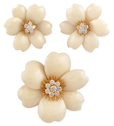 VAN CLEEF & ARPELS Diamond Coral Rose de Noel Brooch Earring