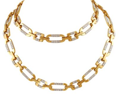 CARTIER Diamond Gold Link Long Necklace