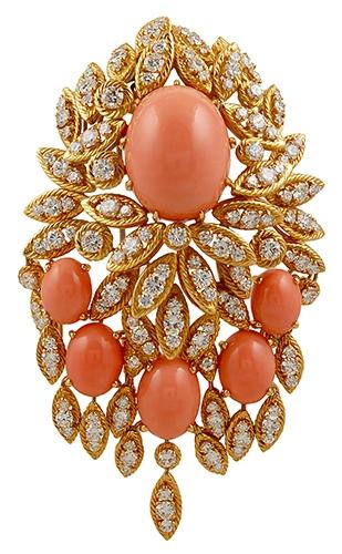 VAN CLEEF & ARPELS Diamond & Coral Brooch