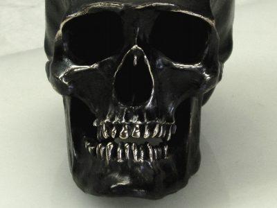 Antique bronze lifesize human skull