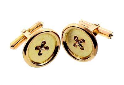 Vintage 14K Yellow Gold Button Cufflinks