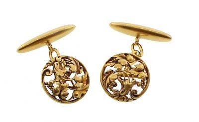 French Art Nouveau 18K Yellow Gold Grapevine Cufflinks