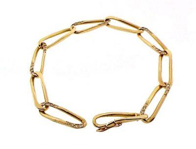 Cartier 18K Yellow Gold & Diamond Oval Link Bracelet