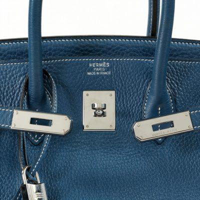 8a435be6118 Authentic Hermès Thalassa Bleu Clemence 35 Cm Birkin