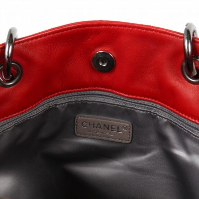 Authentic Chanel Red Lambskin Rock & Cabaret Tote