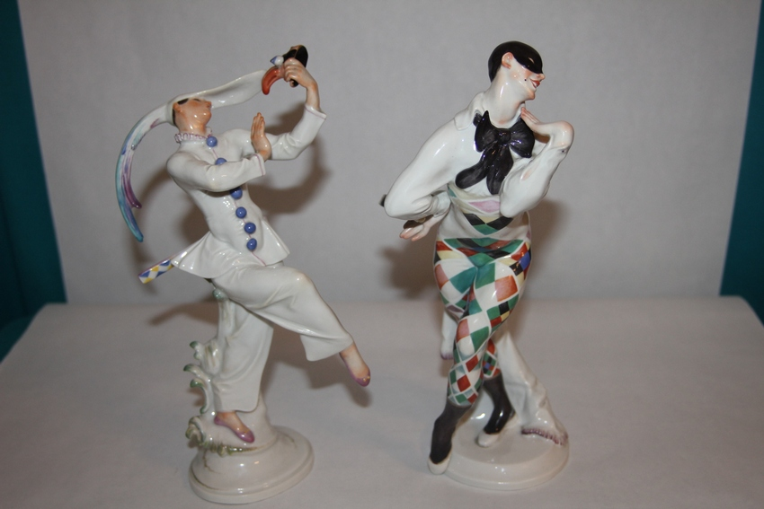 "A Meissen Porcelain Russian Ballet Figure of the Harlequin ""Bajazzo"" and a J. Offenbach Opera Figure of"" Maskentaenzer"""