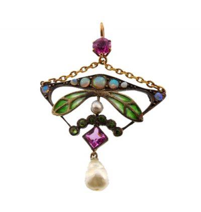 Art Nouveau/Jugendstil Plique-a-Jour Enamel Silver Gold Gemstone Pendant