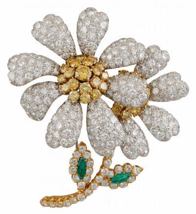 DAVID WEBB White & Yellow Diamond & Emerald Flower Brooch