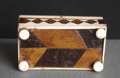 An Embriachi workshop ivory and marquetry casket