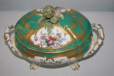 Sevres Porcelain Apple Green - Ground Tureen and Cover