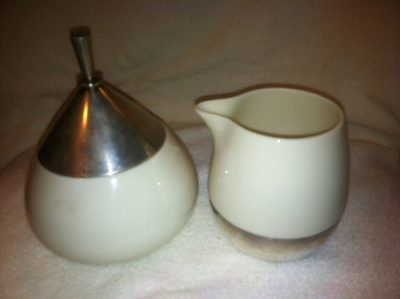 Towle Sterling Silver and Lenox Porcelain Sugar and Creamer