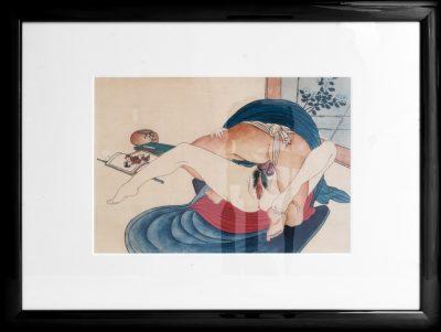 Very rare collection of 8 original Shunga erotic Japanese drawings