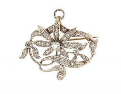 Art Nouveau Platinum 18K Diamond Floral Pendant/Pin