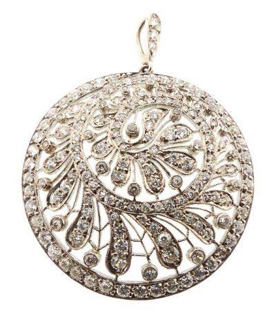 Edwardian Platinum & Diamond Fern Pendant