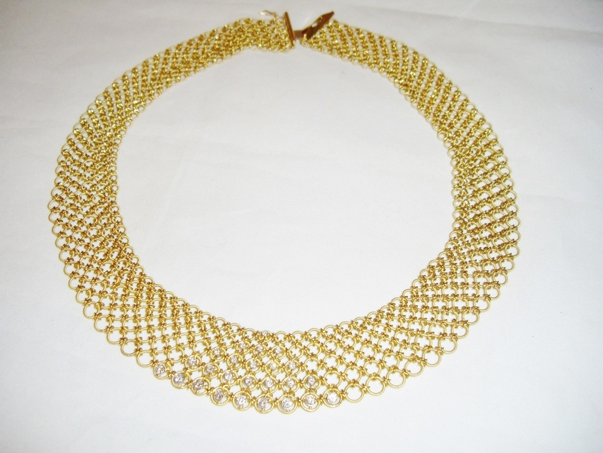 Necklace Diamonds 18K Woven Vintage