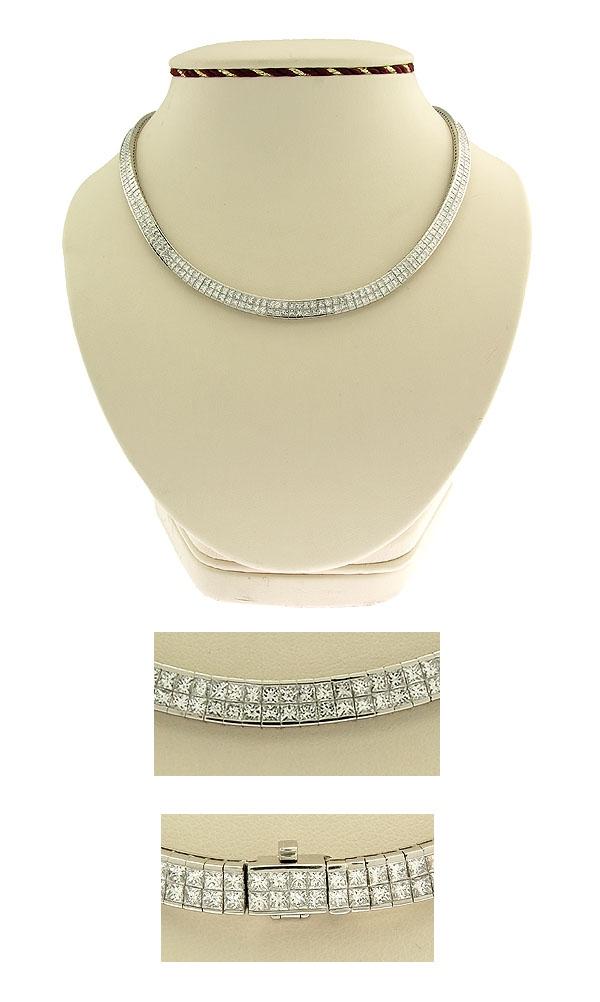 18K WG Ladies Invisible Set Diamond Necklace