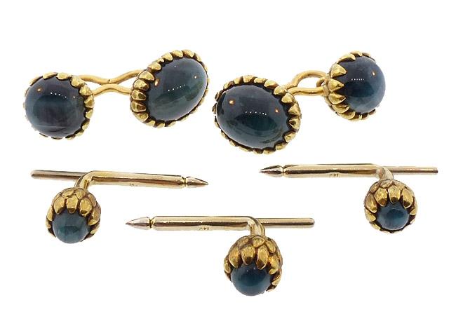 18K Gold & Cat's Eye Green Tourmaline Dress Set