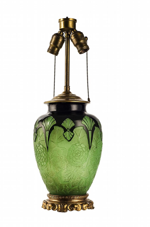 Steuben jade green/mirror black ACB lamp