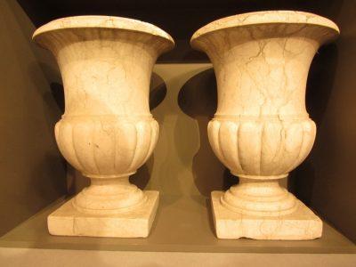 Pair of Marble Garden Urns
