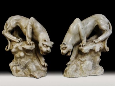 Pair of Japanese marble sculptures of Panthers