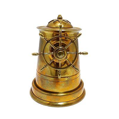Brass Ship's Wheel Cigarette Dispenser
