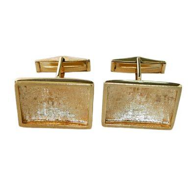 Vintage 14K Florentine Gold Toggle Back Cufflinks