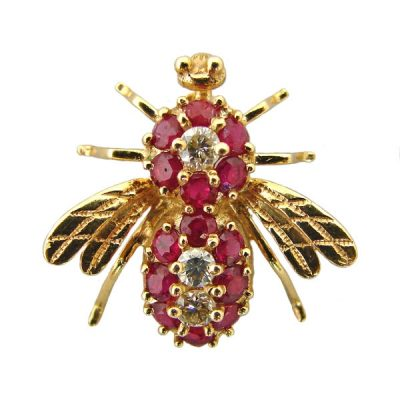 14K Gold Ruby and Diamond Bumble Bee Brooch