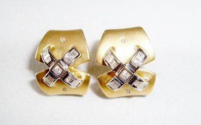 Diamond X Clip Earrings