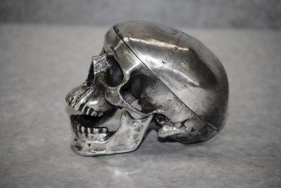 Antique sterling silver human skull