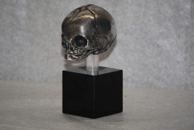 Antique sterling silver lifesize human fetal skull