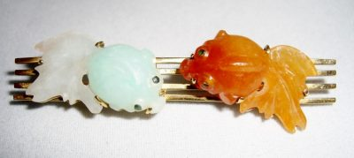 Jade & Carnelian Fish Pin