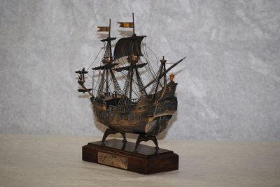 Antique silver Jolly Roger Carribean Pirates galleon