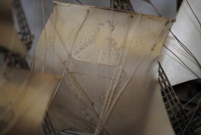 Antique silver Spanish Galleon warship of the Spanish Armada