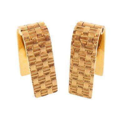 14K Yellow Gold Basketweave Stirrup Cufflinks
