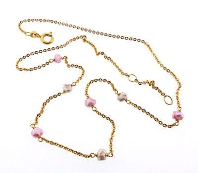 Edwardian 14K Gold Pink White Freshwater Pearl Necklace