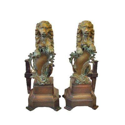 Nineteenth Century Bronze Lion Andirons