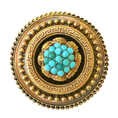Victorian 14K Gold Etruscan Revival Turquoise Brooch