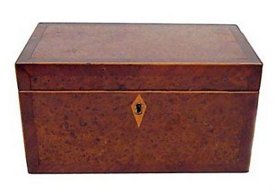 19th C English Burled Walnut Tea Caddy Circa 1820