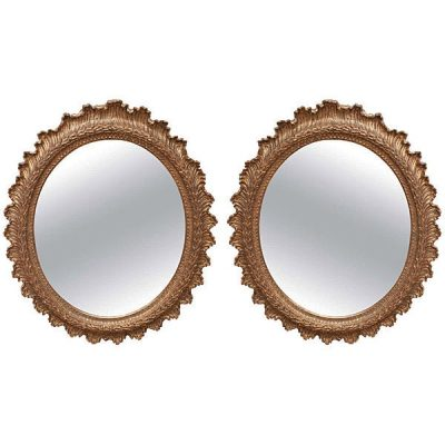Pair 19th Carved Gilt Wood Oval Mirrors c 1860