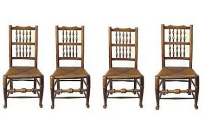 Set 4 English Yew and Ash Spindle Back Chairs C 1820
