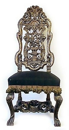 Pr English Charles II Style Silver Leafed Chairs 1880