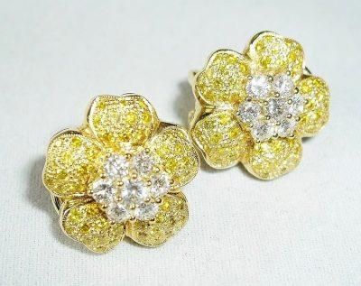 Yellow Diamond Flower Earrings 18K