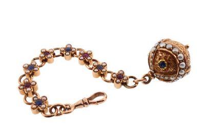 Victorian Renaissance Revival 14K Ruby Sapphire Pearl Watch Fob
