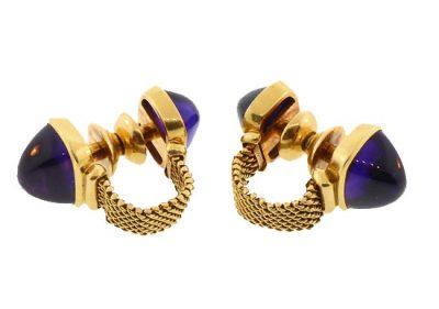 Meister 18K Gold & Amethyst Cabochon Mesh Cufflinks