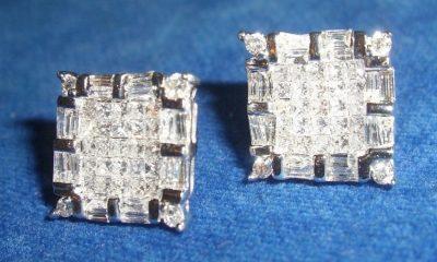 Diamond Earrings Squares 14K