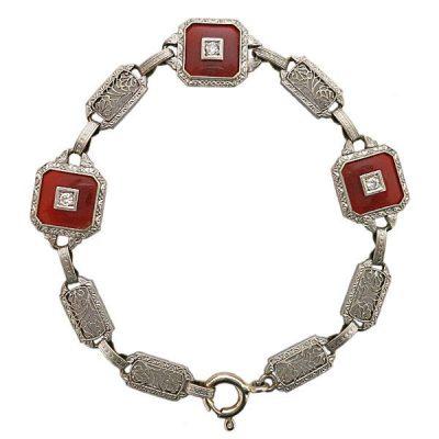 Art Deco 14K Gold Krementz Carnelian Diamond Bracelet
