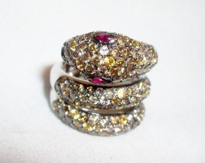 Snake Ring Cognac Diamonds