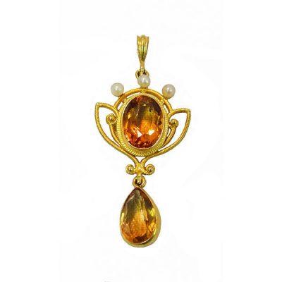 Art Nouveau 14K Gold Citrine Pearl Lavalier Pendant