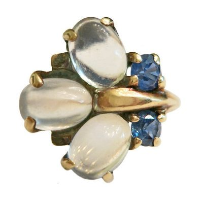 Signed Retro 14K Gold Moonstone and Sapphire Ring